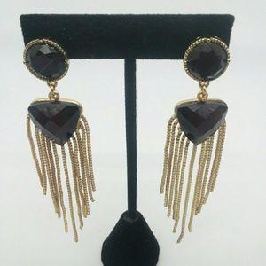 Gold-Tone and Dark Purple Statement Earrings